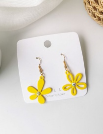 Fashion Yellow Asymmetrical Flowers And Diamond Earrings