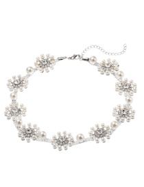 Fashion White K Pearl Necklace With Flowers And Diamonds