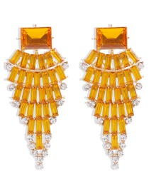 Fashion Orange Alloy Diamond Earrings