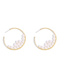 Fashion Golden Alloy Inlaid Pearl C-shaped Earrings