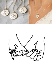 Fashion Steel Color Stainless Steel Engraved Gesture Round Necklace 13mm