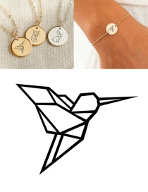 Fashion Golden Stainless Steel Carved Bird Geometric Round Bracelet 13mm