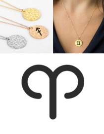 Fashion Steel Color-aries Stainless Steel Engraved Constellation Geometric Round Necklace 15mm