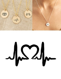 Fashion Steel Color Stainless Steel Single Hole Engraved Ecg Adjustable Necklace 13mm