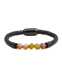 Fashion Flower Stone 8mm Diamond Cut Agate Beaded Stainless Steel Magnetic Buckle Leather Bracelet