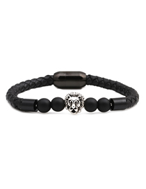 Fashion Ancient Silver 8mm Black Frosted Lion Head Stainless Steel Magnetic Buckle Leather Bracelet