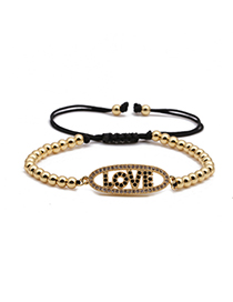 Fashion Golden Copper Micro Inlaid Zircon Letter Copper Bead Woven Adjustable Bracelet