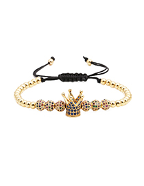 Fashion Golden Micro Inlaid Zircon 6mm Colored Diamond Ball Woven Crown Bracelet