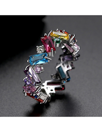 Fashion Color 9 # Rhodium-plated Diamonds Irregular Contrast Ring
