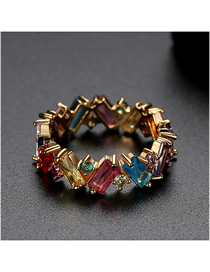 Fashion Color 9 # 18k Gold Plated Irregular Contrast Ring