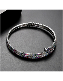 Fashion Color Plated White Gold And Diamond Adjustable Bracelet