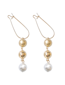 Fashion Golden Pearl Geometric Round Pin Earrings
