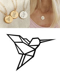 Fashion Steel Color Woodpecker Geometric Round Necklace 15mm