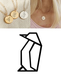 Fashion Golden Stainless Steel Engraved Penguin Geometric Round Necklace 15mm