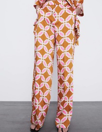 Fashion Color Geometric Print Home Loose Trousers