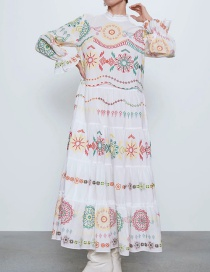 Fashion White Heavy Industry Embroidered Round Neck Patchwork Dress