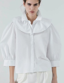 Fashion White Embroidered And Layered Lapel Top