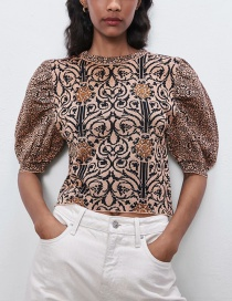 Fashion Color Puff Sleeves Jacquard Pleated Top