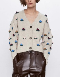 Fashion Color Crochet Flower-embellished Button Coat