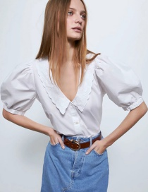 Fashion White Embroidered Poplin Lapel Single-breasted Shirt