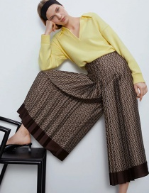 Fashion Brown Printed Patchwork Loose Wide-leg Pants