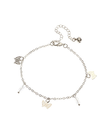 Fashion Silver Alloy Butterfly Water Beads Hollow Anklet