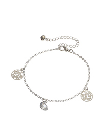 Fashion Silver Alloy Geometric Round Butterfly Hollow Diamond Anklet