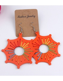 Fashion Orange Wood braided contrast geometric octagonal earrings