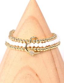 Fashion white Multi-layer Beaded Buckle Love and Diamond Stretch Bracelet