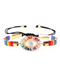 Fashion Color mixing Lacquered contrast eyes woven bracelet with diamonds