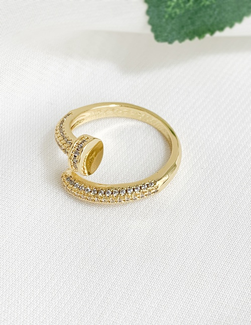Fashion Gold Color Nail Shape Decorated Ring