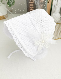 Fashion White Children's Fabric Lace Flower Tether Hat