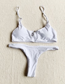 Fashion White Zip Split Swimsuit