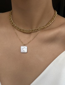 Fashion Golden Square Pearl Double Alloy Chain Necklace