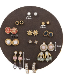 Fashion Color Mixing Star Mount Pearl Resin Geometry Alloy Earring Set