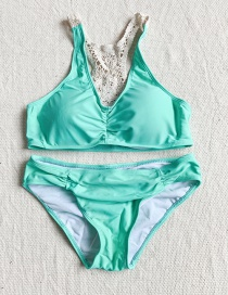 Fashion Lake Green Back Lace Split Swimsuit