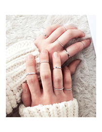 Fashion Silver Alloy Adjustable Fine Ring Set Of 10