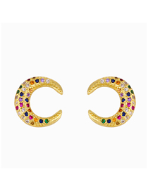 Fashion Crescent Moon Geometric Diamond Alloy Pierced Earrings
