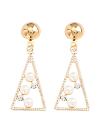Fashion Golden Triangle Alloy Acrylic Diamond Pearl Earrings