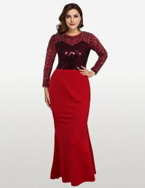 Fashion Red Round Neck Long Sleeve Sequin Panel Dress