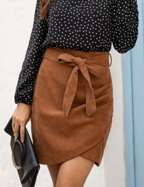 Fashion Camel Irregular One-step Skirt With Bow Crease On Side