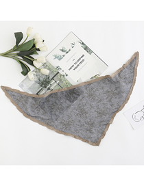 Fashion Denim Blue Cotton Contrast Color Lace Small Floral Triangle Scarf