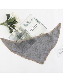 Algodón Contraste Color Encaje Pequeño Triángulo Floral Bufanda