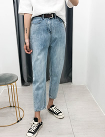 Fashion Light Blue Glossy High-rise Belted Jeans