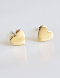 Fashion Golden Titanium Steel Shiny Heart-shaped Stainless Steel Earrings
