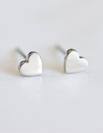 Fashion Silver Titanium Steel Shiny Heart-shaped Stainless Steel Earrings
