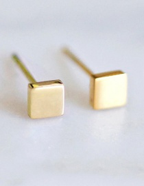 Fashion Golden Shiny Stainless Steel Geometric Square Earrings