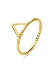 Fashion Golden Stainless Steel Geometric Triangle Openwork Thin Edge Ring