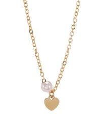Fashion Golden Stainless Steel Pearl Peach Heart Hypoallergenic Necklace