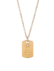 Fashion Golden Stainless Steel English Alphabet Square Brand Titanium Steel Necklace